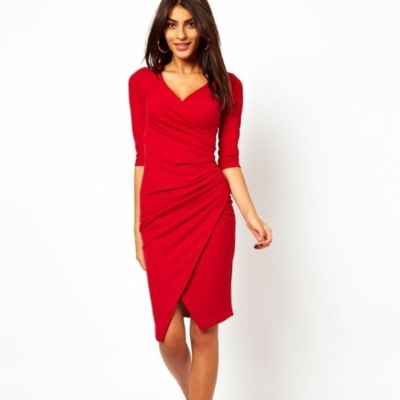 ASOS Red Ruched Wrap Pencil Dress